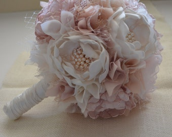 Fabric Bouquet - Large Size Bouquet - Blush, Champagne and Cream Bouquet - Heirloom Bouquet, Fabric Flower Bouquet, Fabric Bouquet, Keepsake