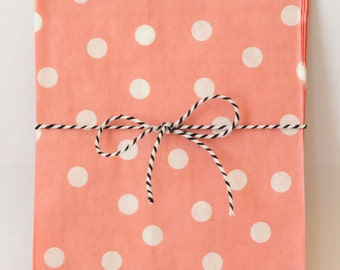 Pink and White Goodie Bags Light Pink Polka Dot Party Favor Bags Pink Party Supplies Treat Bags Girls Birthday Party Baby Shower / Set of 12