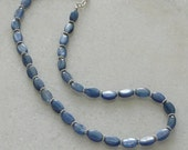 Blue kyanite necklace and sterling silver daisies ladies 18 inch
