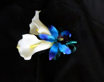 Calla lily galaxy orchid corsage, real touch calla lilies