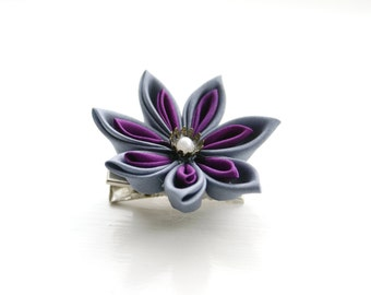 Steampunk Kanzashi Flower Brooch Pin , Kanzashi Hair Clip, Hair Flower in Grey and Violet Silk