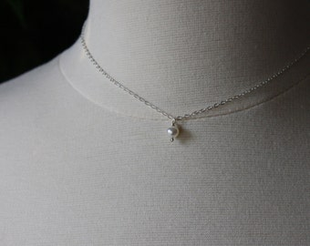 Pearl Solitaire Necklace - Pearl Drop Necklace - Freshwater Pearl Jewelry - Ivory Pearl Necklace - Sterling Silver - June Birthstone Jewelry