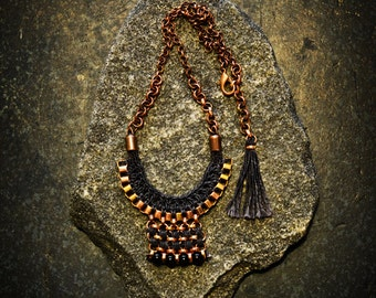 Black Tribal Necklace, Crochet Pendant Bib, Tribal Inspired, Aztec Necklace, Egyptian Necklace, Black and Old Gold Pendant Necklace