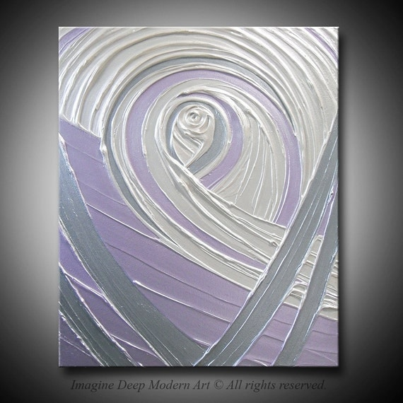 Purple Lavender Grey Silver Pearl White Painting Abstract