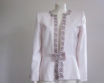 80s Jacket / Beaded Jacket / Nolan Miller / Wedding Jacket / Mother of the Bride / Dynasty / Evening / Cream / Glam / Designer / Bow / Diva
