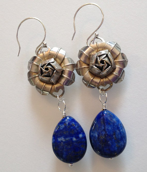 lapis lazuli drop earrings handmade by moonscapedesign on etsy