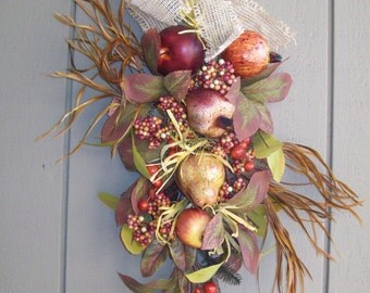 Wall Hanging Fruit, Leaves, Dried Brown Grasses with  Burlap Bow