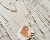 Personalized Necklaces . Name Necklace . Personalized Jewelry . Heart Necklace . Boyfriend Necklace . Copper Heart