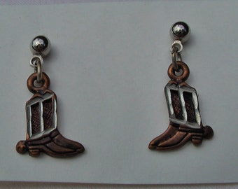 Country Western Earrings Cowboy Boot Earrings Cowgirl Jewelry Copper and Silver Earrings