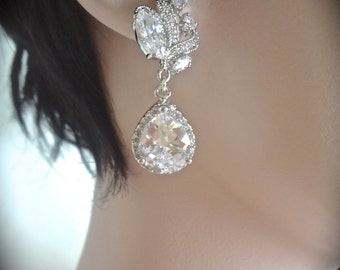 Brides earrings - Cubic zirconia earrings - Sparkling Brilliance - Elegant - Wedding earrings - High quality, Brides jewelry ~ Classic