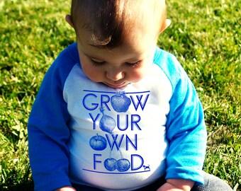 Grow Your Own Food Baby Baseball T-Shirt