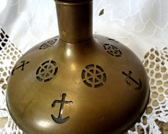 Vintage Brass Ship Decanter with Glass Inset