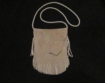Handmade Elk Skin Shoulder Bag with Double Fringe
