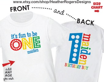 1st Birthday Shirt or Bodysuit  (Primary Colors) - Personalized Birthday Shirt - It's Fun to be One - Front & Back Birthday Shirt