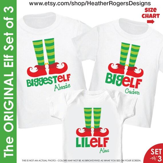 Elf Christmas Shirt Set of 3 - Biggest Elf Big Elf and Lil Elf 3 Siblings Christmas Shirts Matching Christmas Pjs - Family Christmas Pajamas