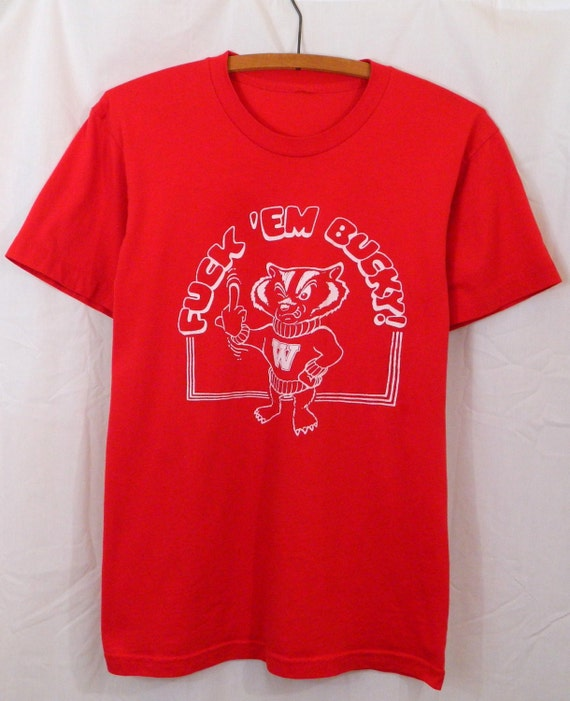 Vintage f 39 em bucky wisconsin badgers t shirt men 39 s for Wisconsin badgers shirt women s