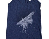 Racerback SUPER SOFT Vintage Feel Tank - Cleveland 1904 Map (Halftone Lake) on Heather Navy