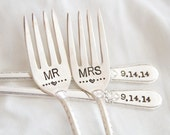 Mr. and Mrs. Fork Set with special design. Hand Stamped with wedding date. Personalized with the bride and groom's wedding date.