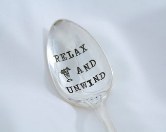 Relax and Unwind - Drink Stirring Spoon - hand stamped spoon - summer entertaining and gift ideas
