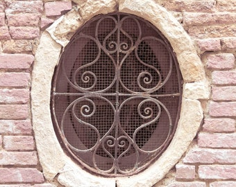 Venice Photograph, Pink Picture, Architectural Detail, Ironwork Window, Iron Grating, Fine Art Photography, Pink Wall Art, Italy Prints