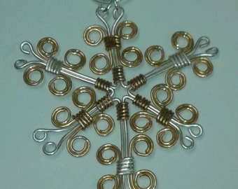 Wire Wrapped Snowflake Pendant