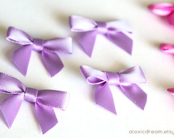 48 MINI LILAC PURPLE Satin Bows