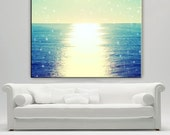 Ocean Photography Canvas Print Extra Large, Abstract Ocean Wall Art, Sunset Canvas, Beach Decor Wall Art, Starry Sky
