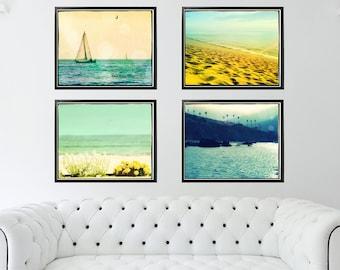 Sailing Photography, Ocean Photography Set, Beach Photography Set, Beach Wall Art, Retro Beach Prints, Nautical Art