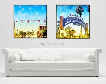 Santa Monica, Venice Beach Canvas Wall Art, Large Beach Canvas Decor, California Art, Retro Beach