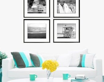 Black White Surfer Photography, Retro Surf Photography Set, Surfboards, Ocean Photography, VW Bus