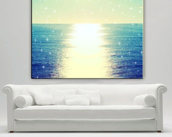 Ocean Photography Canvas Print Extra Large, Abstract Ocean Wall Art, Sunset Canvas, Beach Decor Wall Art, Starry Sky