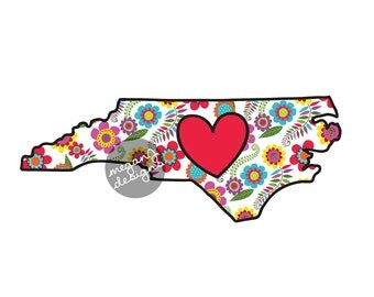Floral North Carolina Decal - Colorful Flower NC Bumper Sticker Red Heart Cute State Laptop Decal Pink Green Yellow Blue