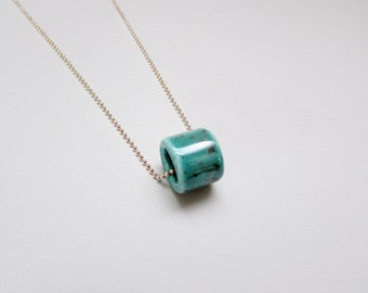 Chunky Turquoise Bead and Rose Gold Necklace