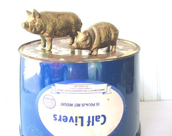 Vintage pig figurines solid brass sow and piglet mother and child