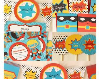Superhero Party Invitations & Decorations - Superhero Birthday - Superhero Printable Party Kit - Editable Text - Instant Download