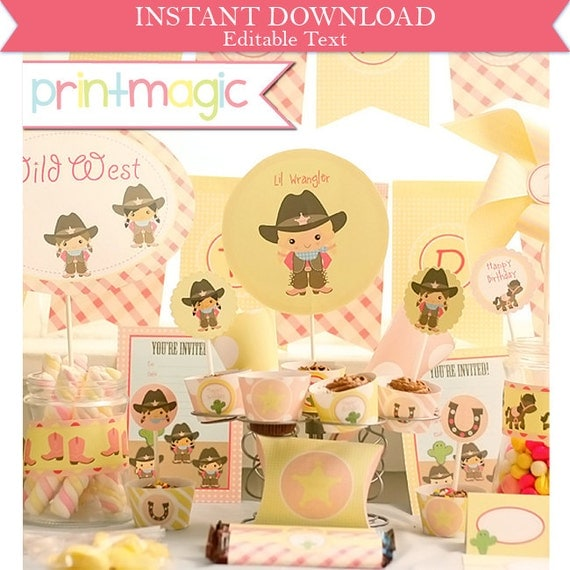 Cowgirl Birthday Invitations & Decorations - Western Printable Party Kit - Printable Cowgirl Invitation - Download and Edit in Adobe Reader