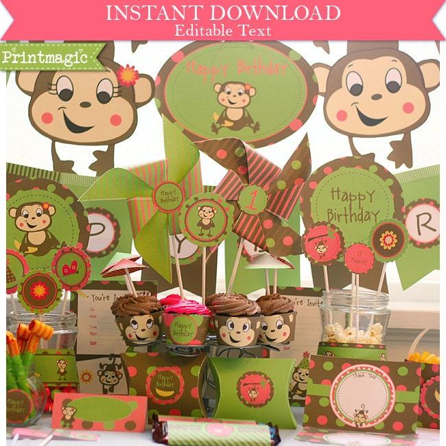 lil monkey girl birthday party invitations amp by printmagic