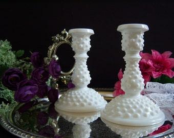 Fenton Hobnail Candle Holders - Fenton Milk Glass Candle Holders - Milk Glass Candlesticks - Wedding Milk Glass  - Vintage Milk Glass