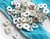 Silver spacers, Greek ceramic beads - metalized tiny spacers - 20pc - F076