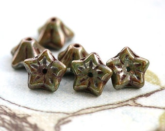 Picasso finish Flower beads, czech glass bell caps - Sage Green luster - 6x9mm - 12Pc - 0726