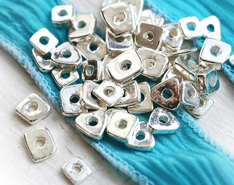 Silver metalized ceramic spacer chip beads - tiny greek beads - 20pc - 0162