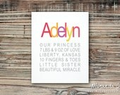 Custom Little Princess Birth Stats Typography Nursery Print  - Print by MJDandSupply