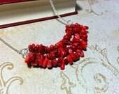 The Samantha- Red Coral Natural Stone Chip Boho Bib Necklace
