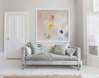 "large cream PRINT of ABSTRACT  PAINTING with light blue and pink  ""Out of Her Loop 5"""