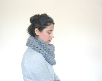 Chunky Cowl, Infinity Scarf, Cowl Snood Scarf handmade in Grey - READY TO SHIP