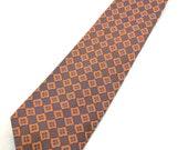 Vintage Mens Tie 100% Silk Designer Necktie Made in Italy Wide Tie Retro 1970s Style