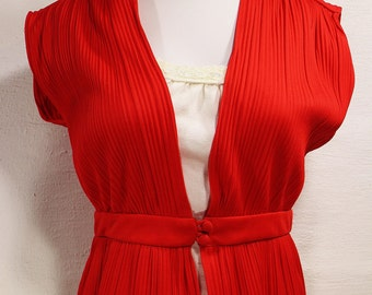 1980's 1970's Red Blouse - Summer Blouse - Disco Dance Clothing - Ladies Small Shirt - Polyester