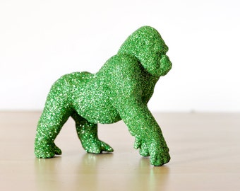 Jungle Gorilla Safari Baby Shower Decorations in Green Glitter for Baby Nursery, Birthdays, or Wedding Table Centerpiece, Cake Topper
