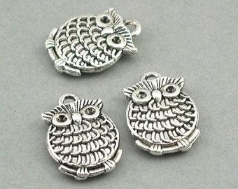 Owl Charms Antique Silver 4pcs zinc alloy pendant beads 13X18mm CM0494S