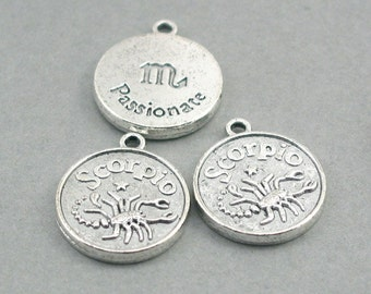 Horoscope Zodiac Scorpio Charms Birthday October November Passionate Antique Silver disc charms 4pcs base metal beads 17mm CM0644S